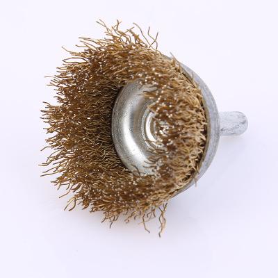 6*50带柄碗型电动钢丝刷带杆碗型除锈钢丝抛光轮打磨头