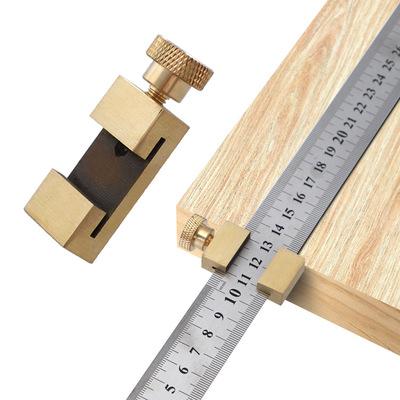 钢尺限位调节块 定位块 木工划线定位器 黄铜限位器 直尺划线挡块