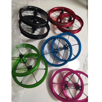 儿童学步车滑步车平衡车12寸改装轮组铝合金轴承培林轮组配件