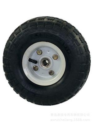 长期供应10寸手推车平板车3.50-4型耐磨防滑白色铁轮辐橡胶充气轮